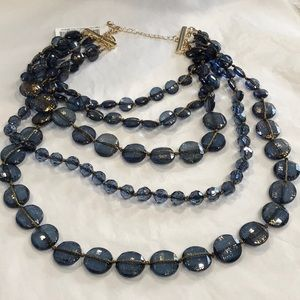 """5 Strand """"Blues"""" Knotted Layered Goldtone Necklace"""